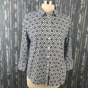 TALBOTS 14 Petite Button Down Blue White Link Rope